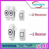 Wholesale 10pcs Home Wireless two Receiver Cordless Smart Door Bells Waterproof Plug in Type Wireless Doorbell With Chimes Door Bell YX ML
