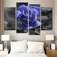al por mayor marcos baratos para fotos-Pintura moderna de la flor que sube el aceite fijó 4 pedazos de arte grande de la lona Cuadros baratos de la pared para la decoración de la sala de estar