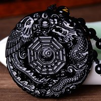 hand carved jade - Natural Black Obsidian Hand Carved Chinese Dragon Phoenix BaGua Lucky Amulet Pendant Free Necklace Fahion Fine Jade Jewelry