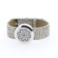 aromatherapy wrap - 25mm stainless steel twist off aromatherapy essential oil diffuser bracelet perfume locket gray leather wrap bracelet free felt pads