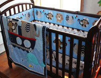 baby monkey bedding - Crib bedding set Baby bedding set Embroidery Monkey elephant navigation blue sea whale Cot Bedding set Quilt Bumper Skirt