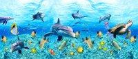 baby underwater - Custom large murals fabric wallpaper d wall paper sitting room bedroom TV sofa background Underwater sea world cartoon baby room dolphins