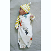 Wholesale Baby Cartoon Christmas sleeping bag Newborns Full Elk sleeping bag baby Winter Swaddle Blanket Wrap baby sleeping bag with hat
