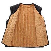 Wholesale Fall New Arrival Fashion Autumn Winter Plus Size Sleeveless Vest Cotton Pu Leather Splice Waistcoat Plush Elder Men Coat H6452