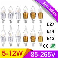 Wholesale LED Candle Bulbs W W W W Bulbs Equivalent E12 E14 E17 LED Torpedo UL Listed Chandelier Bulbs lm LED Candelabra
