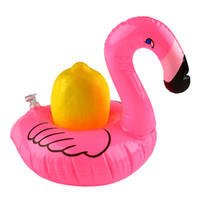 Wholesale Inflatable Flamingo Drinks Cup Holder Pool Floats Bar Coasters Floatation Devices Children Bath Toy