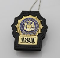 badge leather - US NYPD DETECTIVE BADGE with LEATHER HOLDER AND chain Brass MATERIAL