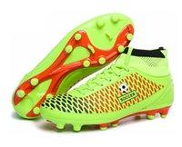Wholesale Men s High Top Soccer Cleats Boots AG Botas de Futbol Men Soccer Shoes High Ankle Zapatillas Cleats Boots