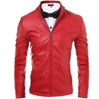 Wholesale Mens Motorcycle Suede Jacket Solid Style Red Black Faux Leather biker Jackets Men Korean Slim Fit Male Coat Brand Clothing Man