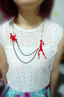 american girl hips - Fashion Punk Metal Chain Acrylic Red Figure Pendant Girl Necklace For Women Hip Hop Night Club Jewelry Accessories