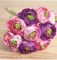 artificial flower ranunculus - 9pcs bouquet Real Touch Silk Flowers Simulation Ranunculus Flower Artificial Flowers Wedding Bouquet Wedding Flowers Bridal Bouquets