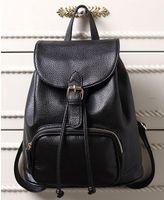 Wholesale 2016 New designer fashion black genuine leather bolsas mochila feminina Designer women backpacks female Travel J335