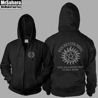 Wholesale Winter supernatural sign sam dean Hoodies Sweatshirts Fleece Hoody Zipper Sportswear Clothing