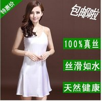 Wholesale authentic mulberry silk v neck sexy high grade silk condole belt nightgown Special offer