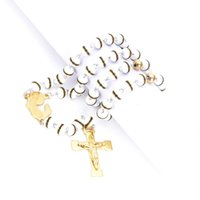 rosary for man - 18k gold plated stainless steel jesus cross pendant necklace with white rosary chains necklace for men