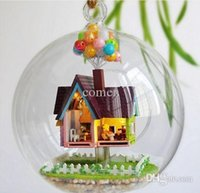 Wholesale B006 DIY Glass Ball Doll House Flying house adventure wood model houses dollhouse miniature toy kit