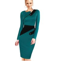 bandages business - New S XL Women Business Female Pencil Dress Elegant Lady Illusion Patchwork Sheath Buttons Fitted Women Bodycon Bandage Dress