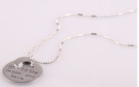 Wholesale New item fashion disc letter charm pendant quot I love you to the moon and back quot chain women lover necklace