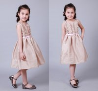 Wholesale Lovely Flower Girl Dresses Jewel Neck Knee Length First Communion Dresses Princess A Line With Pink Sash Baby Girls Wear CPS396