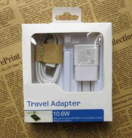 Wholesale usb charger and cable in wall chargers kit USB EU US Plug A N7100 For Samsung Android phones