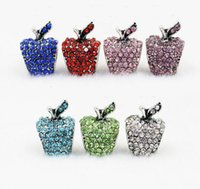 Alloy apple tv black - PC New Fashion DIY Round Pink Crystal Snow White Apple Charms Beads Fit European Pandora Charm Bracelet