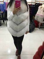 Wholesale Women Whole Skin Genuine Fox Fur Vests Natural Real natural White Fox Fur Coat Gilets Winter Fur Feminino for lady elegant coats