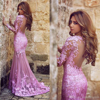 Wholesale 2016 Skin Pink Arabic Mermaid Prom Dresses Plum Lace Appliques Backless Brush Train Backless Formal Evening Gowns Said Mhamad Dress