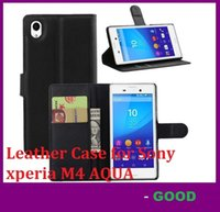 aqua credit card - Leather Case for Sony xperia M4 AQUA holster Wallet Cases Folio Book Cover with Kickstand Credit Card Holder cases dhl
