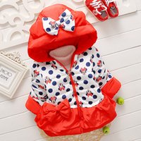 Wholesale Baby Kids Clothing Outwear cotton padded clothes coat GirlS winter Hooded long sleeve Minnie mouse Bow Thick Parkas jacket Lolita Style