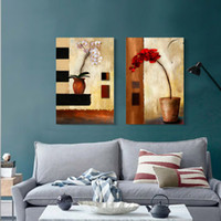 2 pcs/set ar decors - 2 Panels Morden Style Blooming Butterfly Orchid Flower Painting Unframed Colorful Abstract Picture Home Decor Oil Painting On Canvas Wall Ar