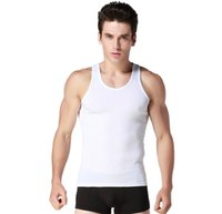 Wholesale Retail pc lotHigh quanlity men Cotton Stringer Bodybuilding Equipment Fitness Gym Tank Top shirt round collarSolid sport clothing