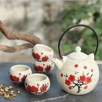Wholesale Hot Sale ml Japanese Style Ceramic Beautiful Kung Fu Teapot Red And Black Tea Cup Set Suit Water Pot Wedding Gift