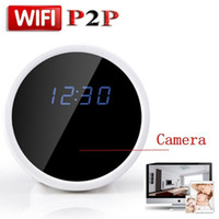 Wholesale HD P P2P WiFi Mini Hidden Spy Camera Alarm Clock with Motion Detection Infrared Night Vision Indoor Home Security Camera Video Recorder