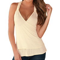Women Camis NO S5Q Women's Slim V Neck Sleeveless Halter Tops Lace Stitching Solid Color Vest AAAFXN