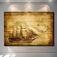 bar chart - Vintage Abstract SAILING CHART COMPASS MAP Painting Picture Canvas Poster Bar Pub Home Art Decor Custom Fashion Print Canvas Painting