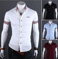 Wholesale Fashion Men Shirt Vetement Homme Short Sleeve Slim Fit Shirt Camisa Masculina Turn Down Collar Single Button Shirts