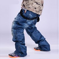 Wholesale Jeans Skiing BIB Pants Winter Cowboy Ski Pants Skiing Wear Waterproof Snowboarding Sports Trousers Thermal Comfortable Bib Cowboy Pant