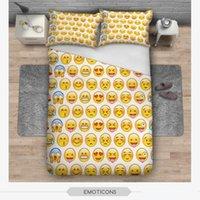 Wholesale 100 Cotton D Print Bedding Set Pieces Of Pillowcases and Duvet Cover and Flat Sheet Funny Emoji Printed Bedding Article Housewares