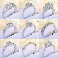 Wholesale Romantic Love gift sterling silver heart Cubic zircon Bling Single ring for bride wedding celebrating