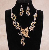 Wholesale In Stock Colors Shining Rhinestones Butterfly Flowers Bridal Bridesmaid Necklace and Earrings Wedding Party Cheap Jewelry Set