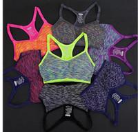 adjustable sports bra - Adjustable Spaghetti Straps Women Sports yoga Bra Shakeproof Stretch Athletic brassiere Push Up Bras Top Seamless Padded Running Vest