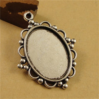 Wholesale Antique Silver Filigree Cameo Cabochon Base Setting Pendant Tray mm Jewelry Blanks Base DIY Findings