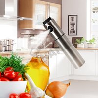 Wholesale Free Fedex DHL Stainless Steel Olive Pump Silver Spraying Oil Bottle Sprayer Can Oil Jar Pot Tool Can Pot Cookware Kitchen Tools L67