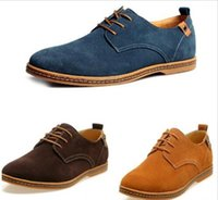 Wholesale New Mens Casual Dress Formal Oxfords Shoes Wing Tip Suede Leather Flats Lace Up Big Size Shoes British Fashion Party Dress Shoes ZJ16 S02