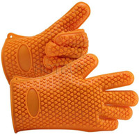 Wholesale Silicone Kitchen Cooking Gloves Microwave Oven Non slip Mitt Heat Resistant Silicone Home Gloves Cooking Baking BBQ Gloves Holder