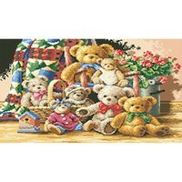 antique teddy bears - Diamond Painting Teddy Bear Picture Needlework DIY Cross Stitch Pasted Painting Diamond Square Drill x20cm LB