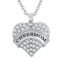 South American american jewlery - Hot Sale Rhodium Plated Zinc Alloy Material Letter CHEERMOM Crystal Heart Charm For Mother Necklaces Jewlery