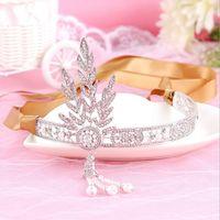 Wholesale 2016 The Great Gatsby Rhinestone Pearl Hair Accessories Bridal Tassel Tiara Crown Wedding Jewelry Pageant Crowns Tiaras