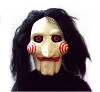 adults movies - Saw Movie Jigsaw Puppet Mask Halloween Full Mask Head Latex Creepy Scary SMT8894