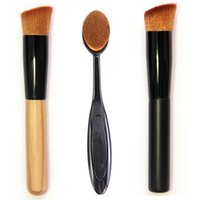 bevel shape - Oval Foundation liquid cream concealer brush toothbrush shape bevel angled top wooden black powder blush pigment makeup tool
